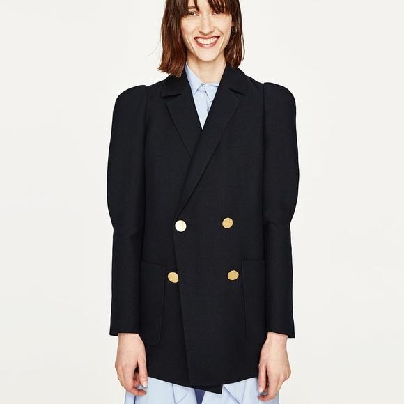 e0048feb Zara Jackets & Coats   New Wool Double Breasted Puff Sleeve Jacket ...